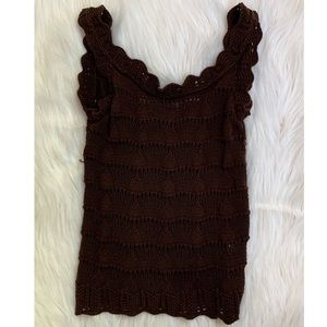 Betsey Johnson Brown Crochet Top